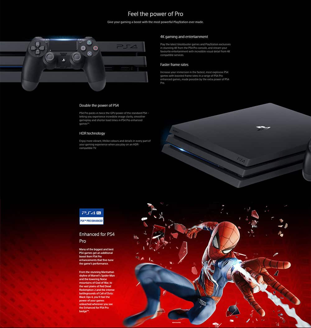 Sony PlayStation 4 Pro 1TB 4K HDR Gaming Console Black - Electro Kuwait