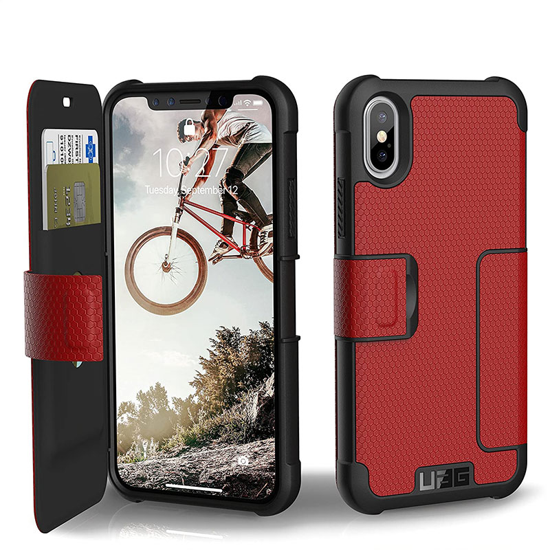UAG Metropolis Series Folio Case for iPhone X/Xs - Magma/Silver