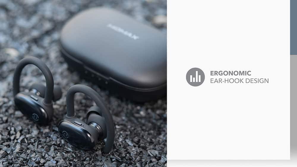MOMAX JOYFIT True Wireless Bluetooth Earbuds Ergonomics Ear Hook Design