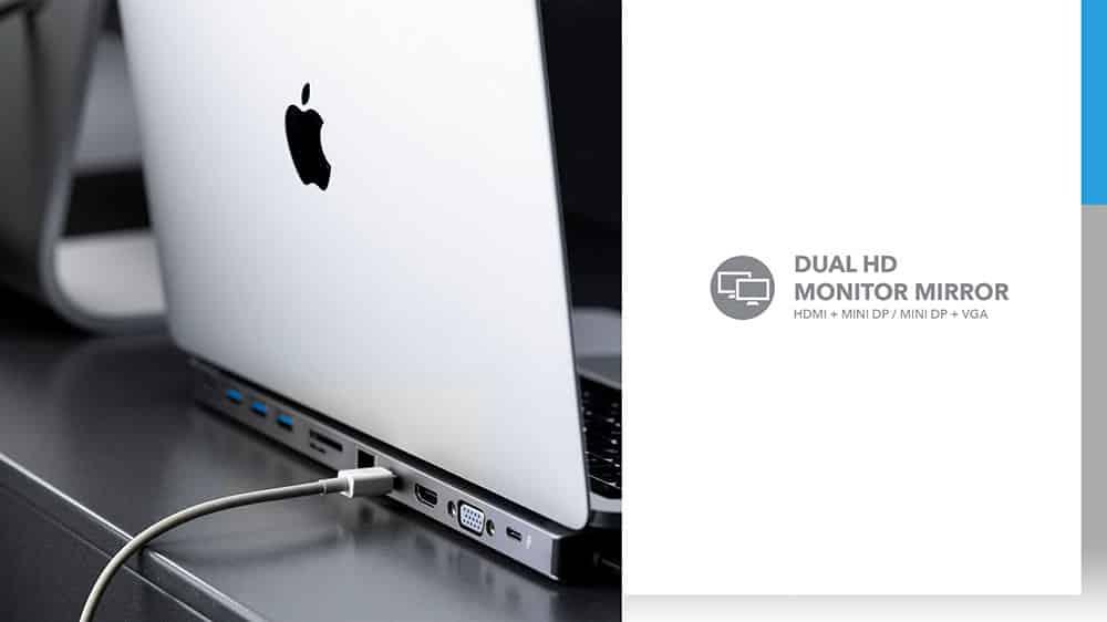 MOMAX One Link Type-C PD Docking Station Dual HD Monitor Mirror HDMI+2 MINI DP+VGA