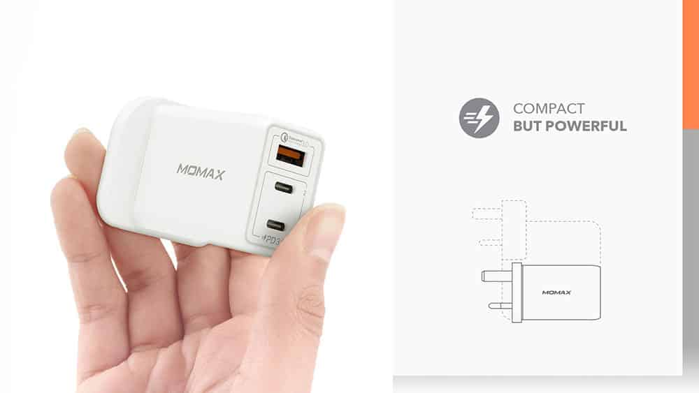 MOMAX One Plug 65W 3-Port GaN Charger Compact but Powerful