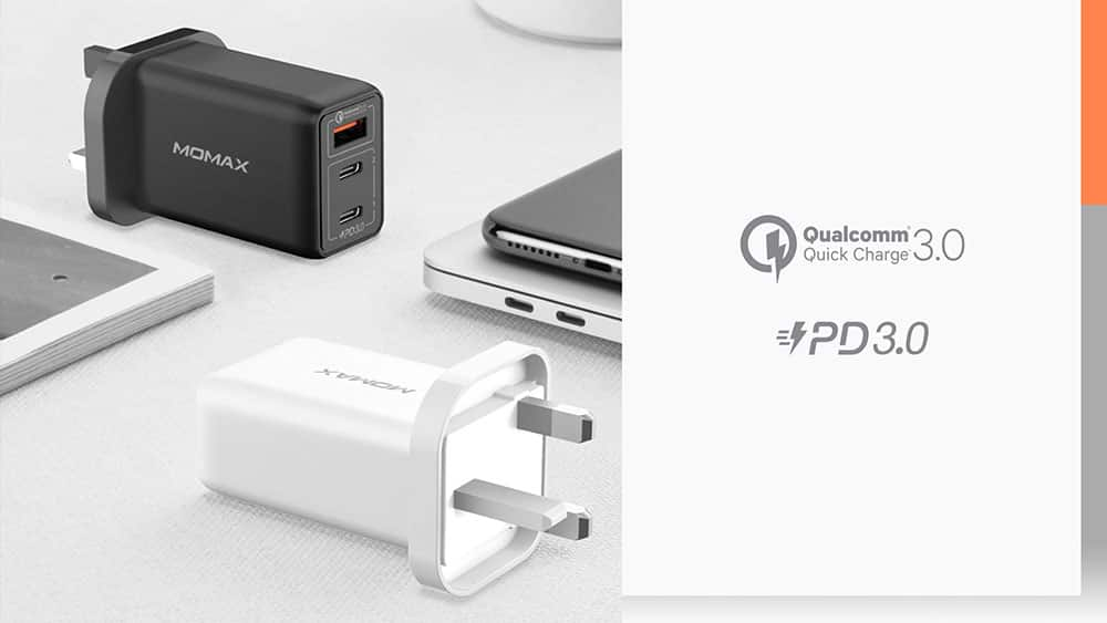 MOMAX One Plug 65W 3-Port GaN Charger Qualcomm Quick Charge PD 3.0