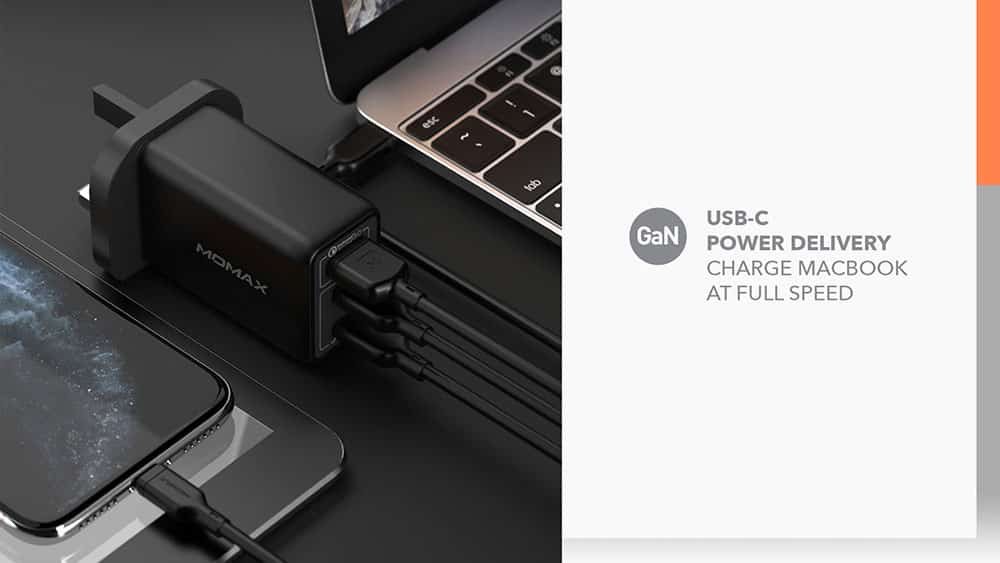 MOMAX One Plug 65W 3-Port GaN Charger USB-C Power Delivery