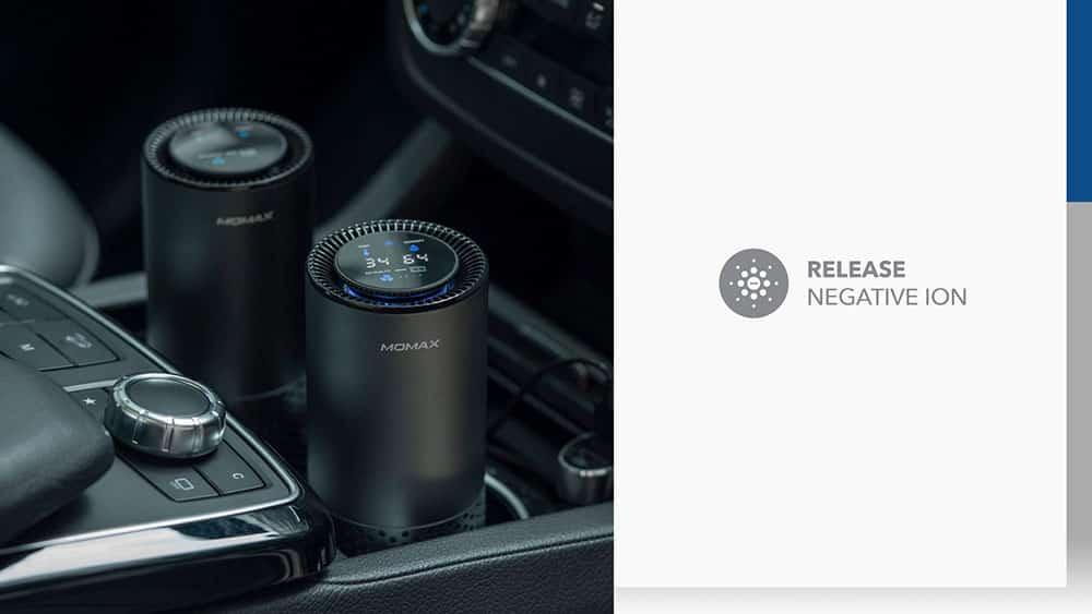 MOMAX Pure Go Portable Smart Air Purifier Release Negative ION