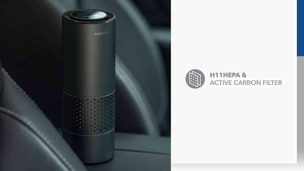 MOMAX Pure Go Portable Smart Air Purifier with H11 HEPA and Active Carbon Filter