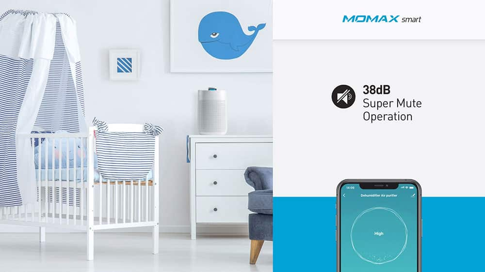 MOMAX Smart 2 Healthy IoT Air Purifying & Dehumidifier 38dB Supper Mute Operation