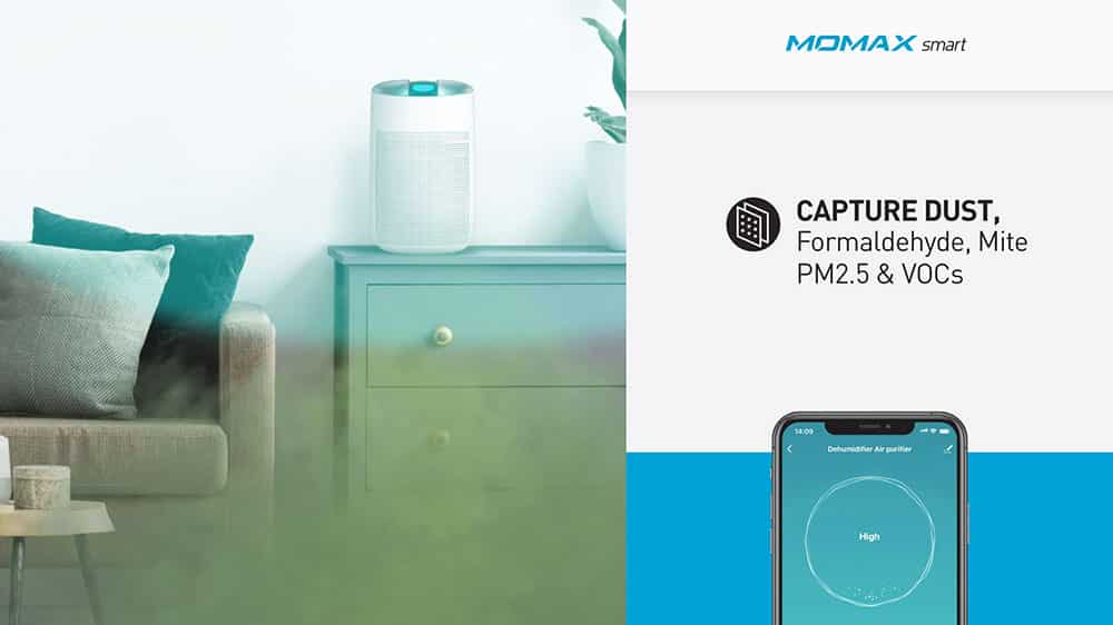 MOMAX Smart 2 Healthy IoT Air Purifying & Dehumidifier Capture Dust Formaldehyde Mite PM2.5 and VOCs