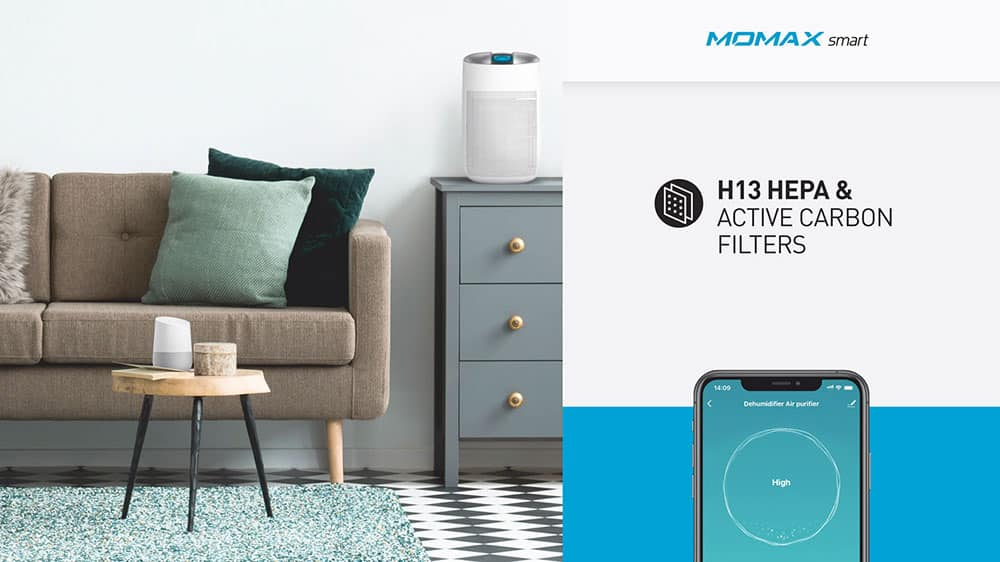 MOMAX Smart 2 Healthy IoT Air Purifying & Dehumidifier H13 HEPA & Active Carbon Filters