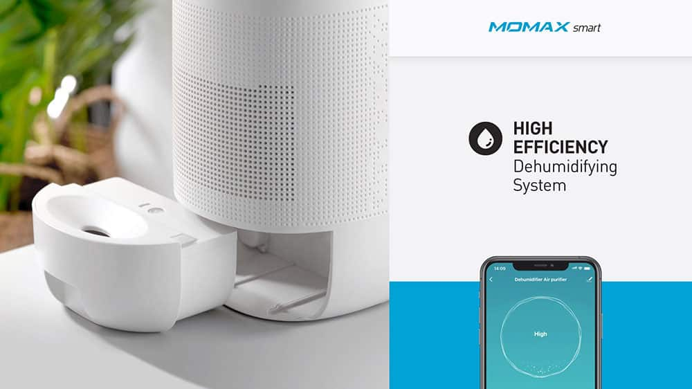 MOMAX Smart 2 Healthy IoT Air Purifying & Dehumidifier High Efficiency Dehumidifying System