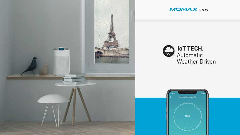 MOMAX Smart 2 Healthy IoT Air Purifying & Dehumidifier IoT Tech Automatic Weather Driven