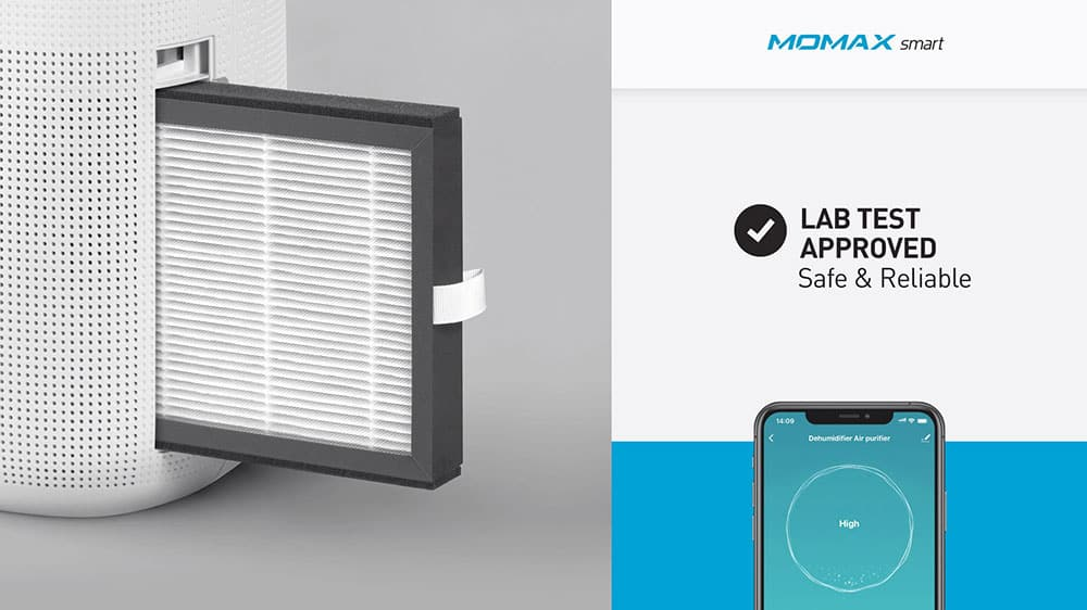 MOMAX Smart 2 Healthy IoT Air Purifying & Dehumidifier Lab Test Approved Safe and Reliable