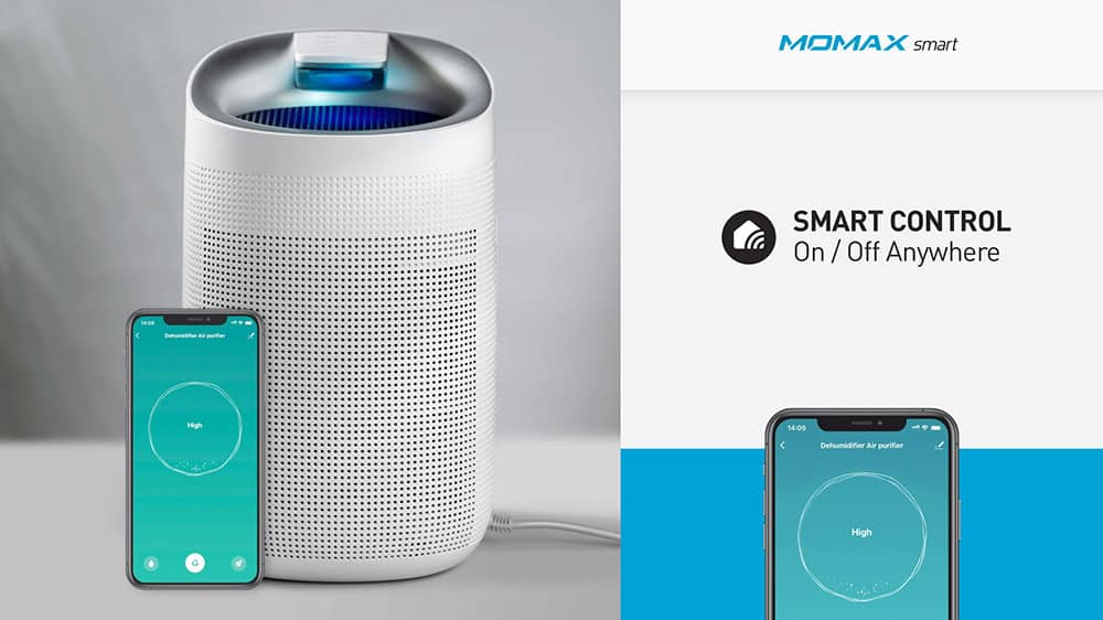 MOMAX Smart 2 Healthy IoT Air Purifying & Dehumidifier Smart Control On Off Anywhere