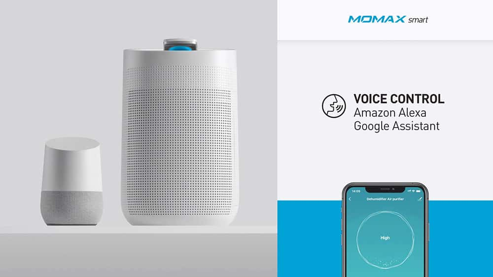 MOMAX Smart 2 Healthy IoT Air Purifying & Dehumidifier Voice Control Amazon Alexa Google Assistant