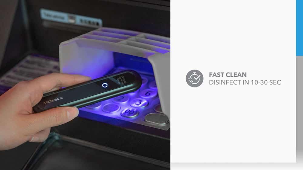 MOMAX UV-C Pen UV-C LED Sanitizer Fast Clean Disinfect In 10-30 Sec