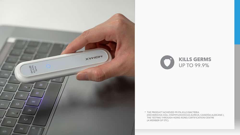 MOMAX UV-C Pen UV-C LED Sanitizer Kills Germs Up To 99.9%