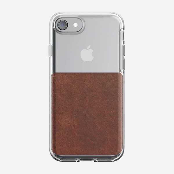 NOMAD Clear Case for iPhone 7/8 Rustic Brown Horween Leather