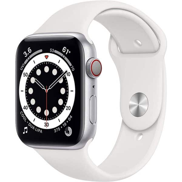 Apple Watch Series 6 GPS+Cellular 44mm Silver Aluminum Case with White Sport Band