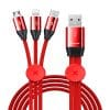 Baseus Car Co-sharing Three-in-One Date Cable Red