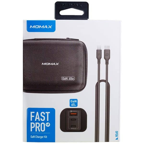 MOMAX FastPro GaN Charger Kit with Lightning to Type-C Cable - Black