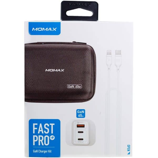 MOMAX FastPro GaN Charger Kit with Lightning to Type-C Cable - White