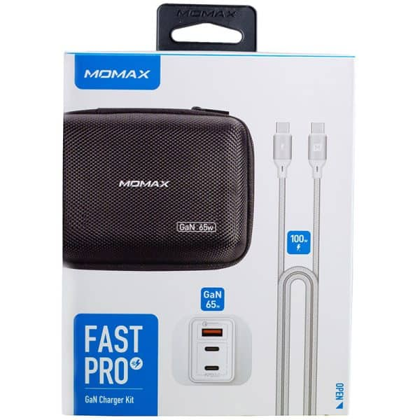 MOMAX FastPro GaN Charger Kit with Type-C to Type-C PD Cable - White