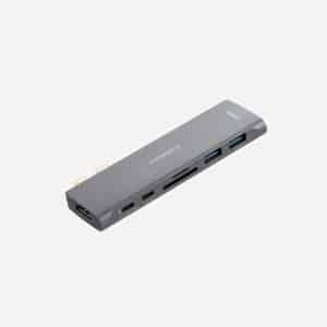 MOMAX ONELINK 7-in-1 Dual USB-C Hub Dark Gray