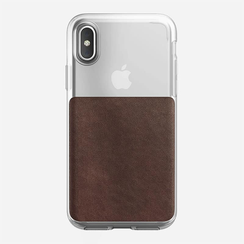 NOMAD Clear Case for iPhone X Rustic Brown Horween Leather