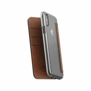 NOMAD Clear Folio Case for iPhone X Rustic Brown Horween Leather