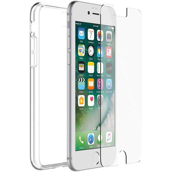 OtterBox Clearly Protected Skin Case with Alpha Glass Screen Protector for iPhone SE 8 7 Clear