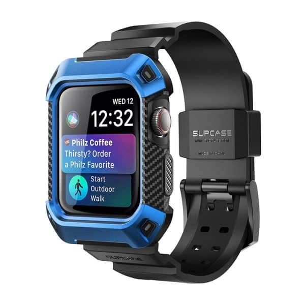 SUPCASE Unicorn Beetle Pro Case with Strap for Apple Watch Series 6 SE 5 4 44mm Blue