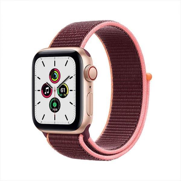 Apple Watch SE GPS+Cellular 40mm Gold Aluminum Case with Plum Sport Loop