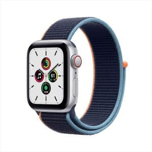 Apple Watch SE GPS+Cellular 40mm Silver Aluminum Case with Deep Navy Sport Loop