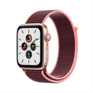Apple Watch SE GPS+Cellular 44mm Gold Aluminum Case with Plum Sport Loop