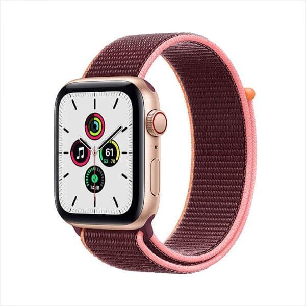 Apple Watch SE GPS+Cellular 44mm Gold Aluminum Case with Plum Sport Loop