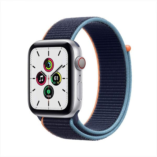 Apple Watch SE GPS+Cellular 44mm Silver Aluminum Case with Deep Navy Sport Loop
