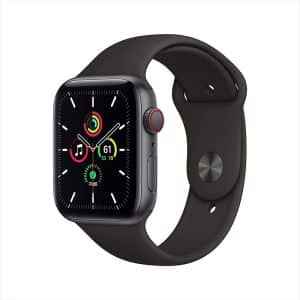 Apple Watch SE GPS+Cellular 44mm Space Gray Aluminum Case with Black Sport Band