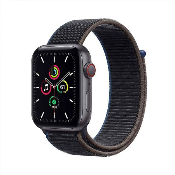 Apple Watch SE GPS+Cellular 44mm Space Gray Aluminum Case with Charcoal Sport Loop