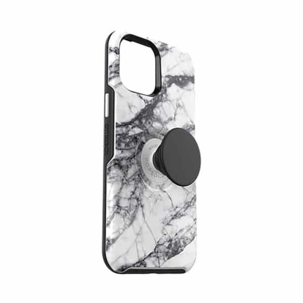 OtterBox Otter+Pop Symmetry Series Case for iPhone 12 Pro Max 5G White Marble Graphic