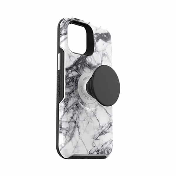 OtterBox Otter+Pop Symmetry Series Case for iPhone 12 mini 5G White Marble Graphic