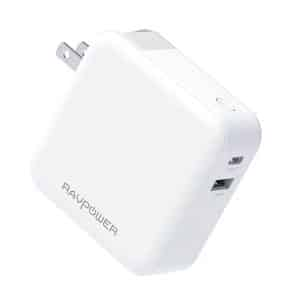RAVPower 18W 2-Port 5000mAh 2-in-1 Wall Charger & Portable Charger RP-PB101 - White