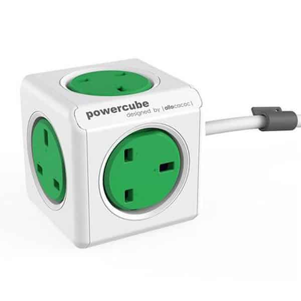Allocacoc PowerCube Extended 5 Power Outlets with 1.5m Cable UK Green