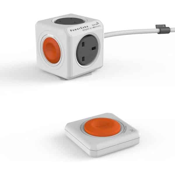 Allocacoc PowerCube Extended Remote Set 4 Power Outlets with 1.5m Cable UK White