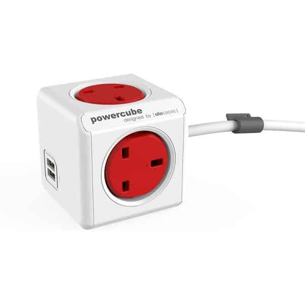 Allocacoc PowerCube Extended USB 4 Power Outlets and 2 USB Ports with 1.5m Cable UK Red