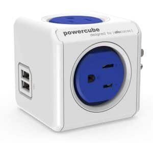 Allocacoc PowerCube Original USB 4 Power Outlets and 2 USB Ports UK Blue