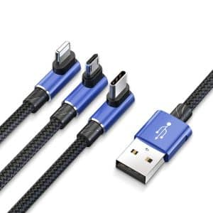 Baseus MVP 3-in-1 Mobile Games Cable Multi-interface USB Cable for Micro, Lightning, Type-C 1.2m Blue