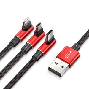 Baseus MVP 3-in-1 Mobile Games Cable Multi-interface USB Cable for Micro, Lightning, Type-C 1.2m Red