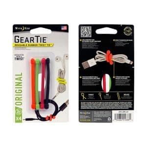 NiteIze Gear Tie Reusable Rubber Twist Tie™ 3-inch 4 Pack GT3-4PK-A1 Assorted