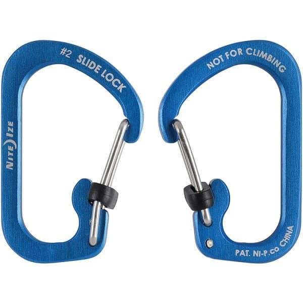 NiteIze SlideLock Carabiner Aluminum #2 CSLA2-03-R6 Blue