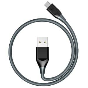 Tronsmart Braided Nylon USB-C to USB-A Syncing & Charging Cable (1m/3ft) Gray