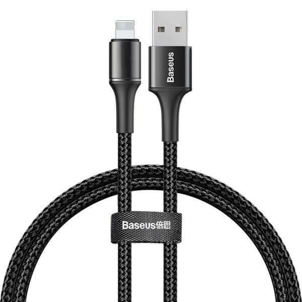 Baseus Halo Data Cable Durable Nylon Braided Wire Lightning USB with LED Light 1.5A 2m Black